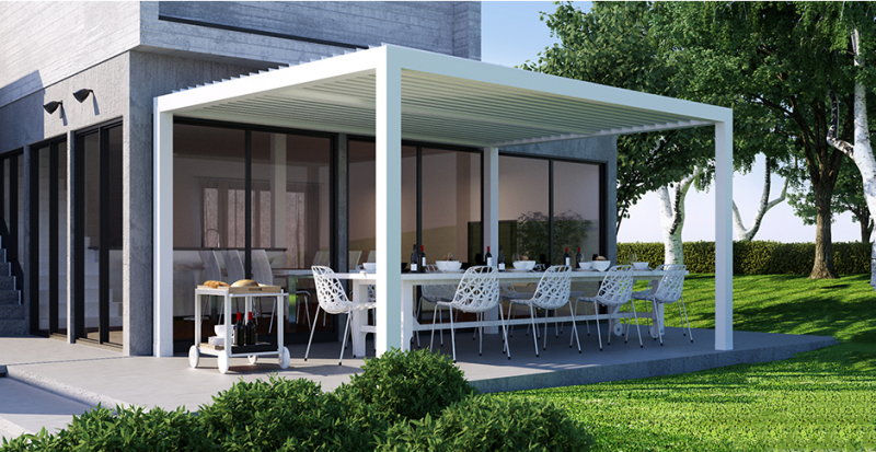 pergola bioclimatique aluminium a lames orientables en arles fermeture de terrasse marseille. Black Bedroom Furniture Sets. Home Design Ideas