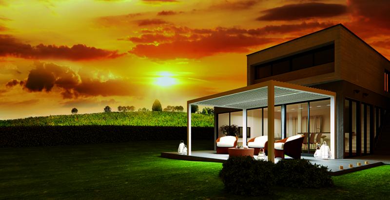 pergola bioclimatique lames orientables pour restaurant. Black Bedroom Furniture Sets. Home Design Ideas