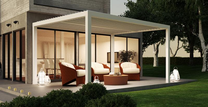 pergola bioclimatique aluminium a lames orientables en arles fermeture de terrasse marseille. Black Bedroom Furniture Sets. Home Design Ideas